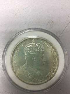 Old Straits settlement silver coin Edward VII 1904