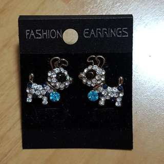 Crystals Dog Theme Stud Earrings