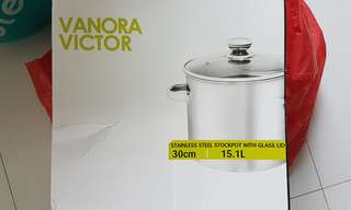 Vanora Victor Stainless Steel Stockpot with glass lid 15.1 litres 30cm with Ladle