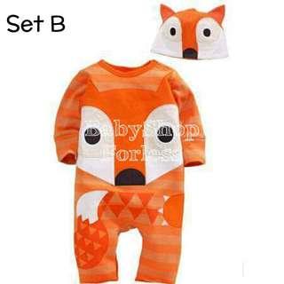 (1) Baby Bodysuit and Bonnet Set - SET B
