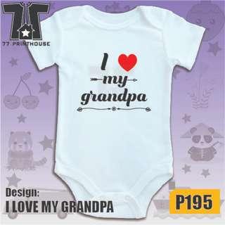 I Love My Grandpa Design Baby Onesie