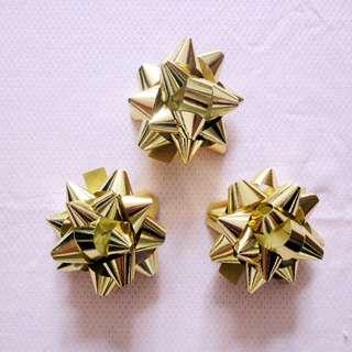 絲帶 (禮物花球) 金色 3 個