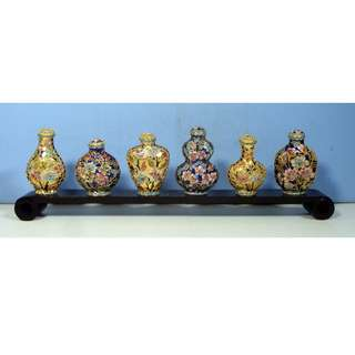 Vintage rare hand crafted cloisonne snuff bottles full set of 6 circa.1950s