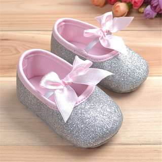 BOW KNOT SEQUINS SOFT RIBBON ANTI SLIP SHOES