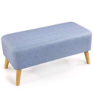 Ottoman Blue Cushion Seat/ Bench/ Stool/ Chair Ottoman