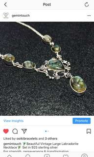 🧚🏾‍♂️Beautiful Vintage Large Labradorite Necklace🧚🏾‍♂️ Set in 925 Sterling Silver