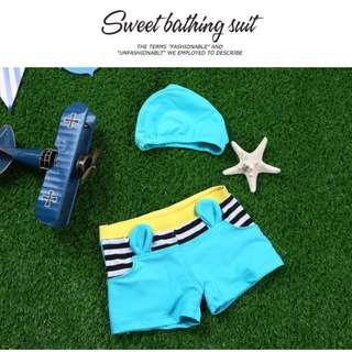 ▶夏季泳裝☑男童小耳朵條紋泳帽泳褲兩件套