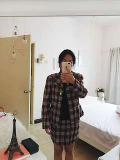 Checkered 2 pieces suit