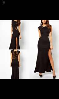 Black Lace Dress Gown with High Slit
