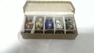 微型景泰蓝小花瓶一套五个5 pcs  miniature cloisonne vases