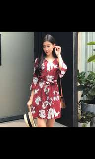 Maroon floral dress with bell sleeves