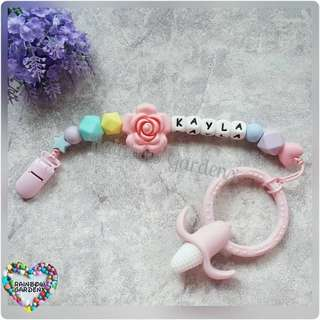 Handmade Customized Pacifier Clip + Pink Corn Teether with letter beads