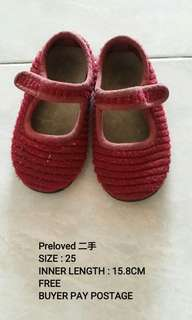 Baby girl red wine shoe