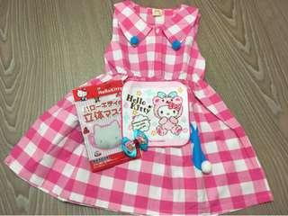 {💝出清回饋價}私物 韓版 粉格兔子洋裝&kitty方巾&kitty造型口罩&蝴蝶結壓夾🈴️售