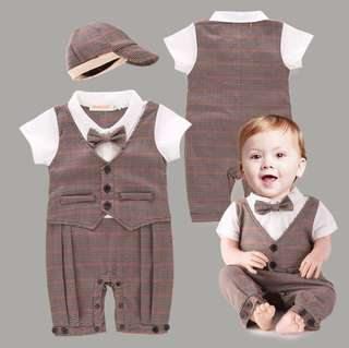Summer Baby Boy Dress Tie Cotton Short-Sleeved Romper