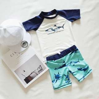 ▶夏季泳裝☑男童鯊魚印花夏季泳裝三件套
