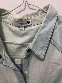 COTTON ON - denim sleevess shirt