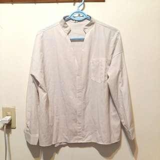 大V領厚雪紡白襯衫
