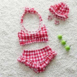 ▶夏季泳裝☑格子花邊繞脖兩件式泳衣