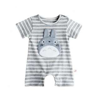 Totoro Applique Stripes Short-sleeve Romper (2T) - PatPat