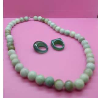 BURMA JADE BEADS NECKLACE & RING SET