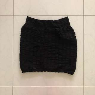Black Ruffled Bandage Skirt