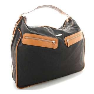 Gucci Shoulder Bag Brown Dark Brown Canvas Leather Travel Bag Silver  212792 (SHIP FROM JAPAN)