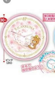 最後一個特價Rilakkuma sakura clock 鬆弛熊櫻花時鐘粉色