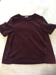 Wine Red Embroidered Top