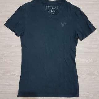 AMERICAN EAGLE美國老鷹 男版深藍色V領短袖棉T-XS號