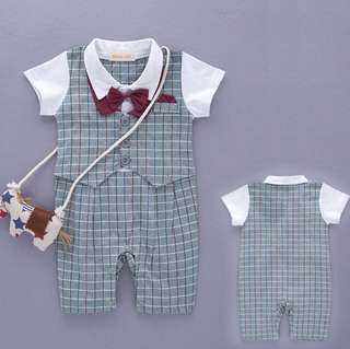Summer baby boy dress tie cotton Short-Sleeved romper