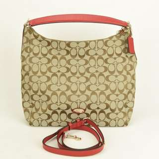 (NEW) Coach Red gnature Hobo Bag