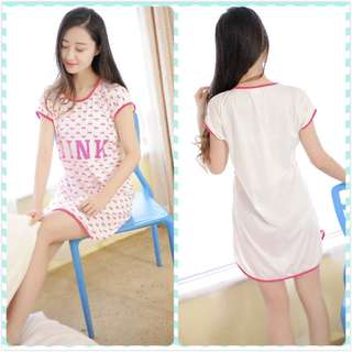 MuiMui Promotion Baju Tidur Polyester Pajamas Cartoon Nightdress Pink M079