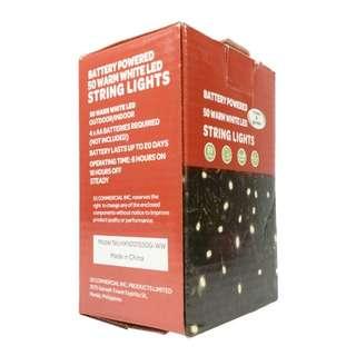 Battery Powered 50 Warm White LED String Lights