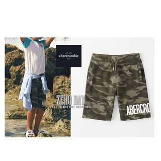 美國A&F專櫃帶回真品Abercrombie&Fitch logo pull-on fleece shorts短棉褲迷彩