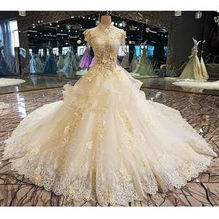 Gown Collection - Champagne 3D Petals Grand Luxury Puffy Long Tail Gown