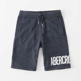 美國A&F專櫃帶回真品Abercrombie&Fitch logo pull-on fleece shorts短棉褲深藍