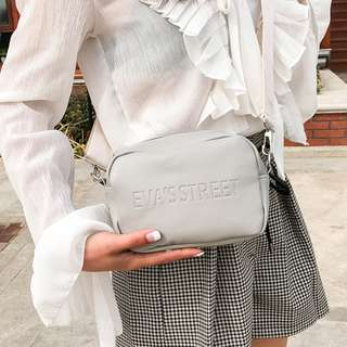 GREY EMBOSSED SHOULDER BAG