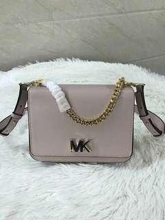 Michael Kors turnlock Leather Shoulder Bag - beige