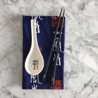 Japanese Chopsticks, Spoon, Napkin Set