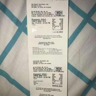Sale 3 Infinity War Imax Tickets, April 29 SUN 2Pm