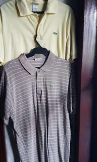 SET OF 2: LACOSTE MEN'S COLLARED POLO SHIRTS, Large 5/6