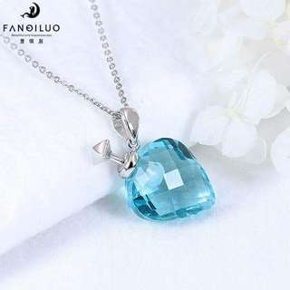 S925 Blue Color Strawberry Perfume Bottle Pendant Necklace