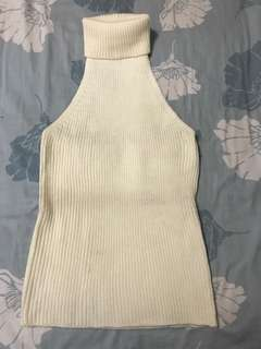 White knitted halter top