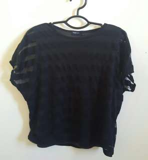 Black Crop Top (with lace (?) sleeves lol)