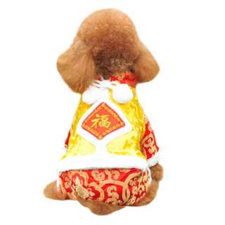 Small Size Dog M Size CNY Chinese Pet Cloth with Fur
