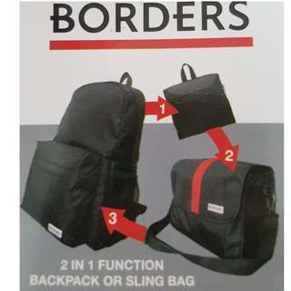 $8 incl postage BRAND NEW BORDERS 2 in 1 Convertible Transformable Backpack or Shoulder Sling School Bag Schoolbag