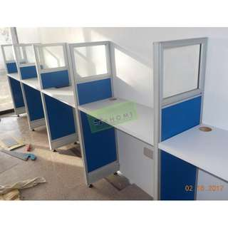 FABRIC WITH GLASS CUBICLES AND OFFICE CHAIRS--KHOMI