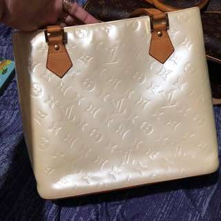 Authentic Louis Vuitton Cream Monogram Vernis Houston Bag