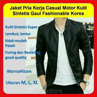 Jaket Pria Kerja Casual Motor Kulit Sintetis Gaul Fashionable Korea New